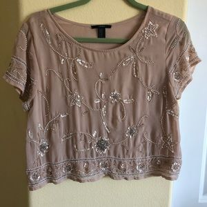 Forever 21 Med Blush Beaded Crop Top